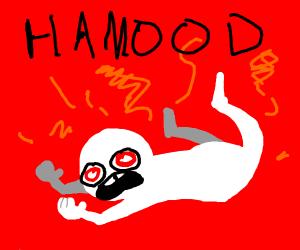 Man painfully screaming Hamood.