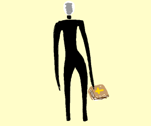 very skinny and tall man with bible