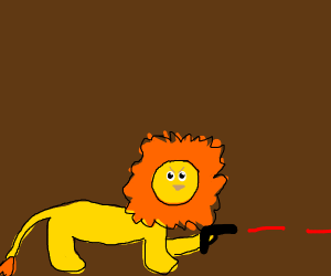 Lion with a gun