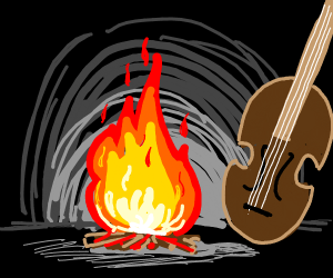 a cello, sitting at a campfire in a cave