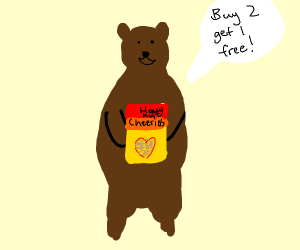 Bear is trying to sell you cheerios