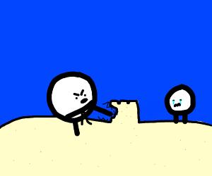 Karate man kicks sand castle