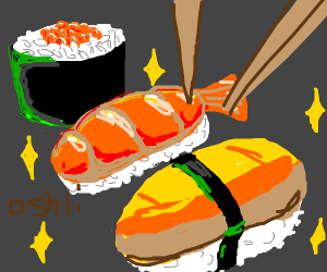 trying to draw a sushi