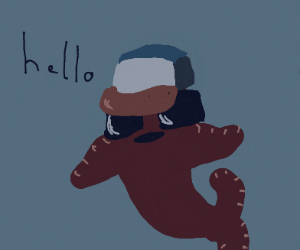 Fish with cool hat says hello