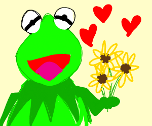 Kermit gives you a flower