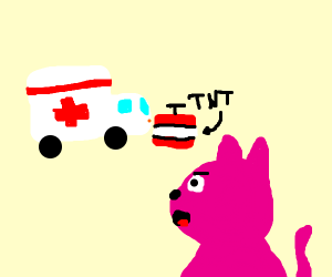 Pink cat causes ambulance to explode