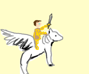 Alexander the Great rides a wings horse