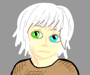 cute heterochromic albino boi
