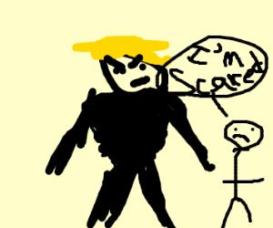 Blonde man asserts dominance