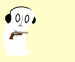 Napstablook carrying a flintlock pistol