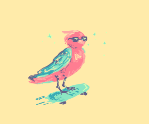A parrot with glasses on a skateboard
