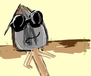 Shovel with Sunglasses