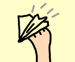 Holding a paper airplane
