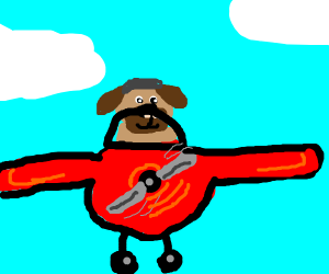 Dog flying a red plane.