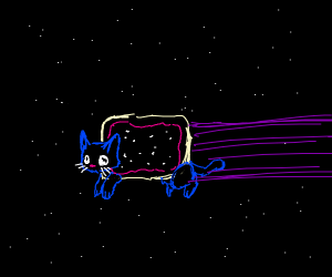 blue cat with purple and nyan fur in space