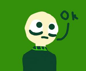 A bald guy saying OK
