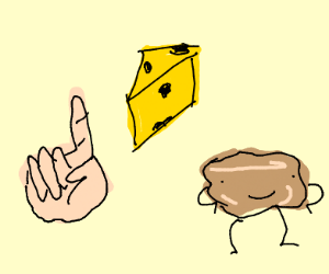 finger, cheese, and anthropomorphic biscuit