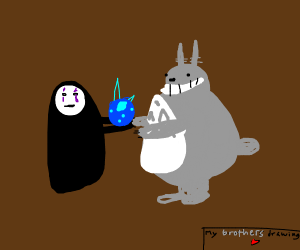 Noface gives totoro a blue thing