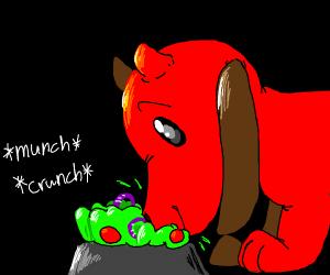 Devil Dog eats a Salad