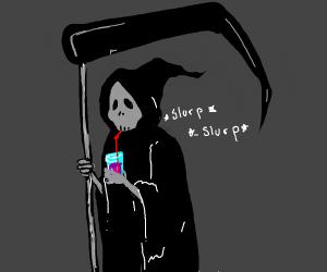 Death takes a break to drink grape juice