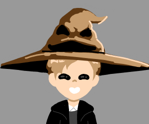 Witch hat on a boy decides on yellow