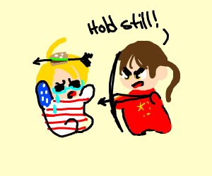 China blob about to shoot America blob