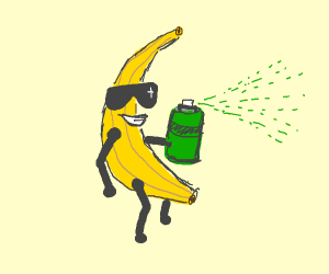 Banana with green spray can