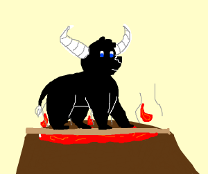 a bull walking over a volcano
