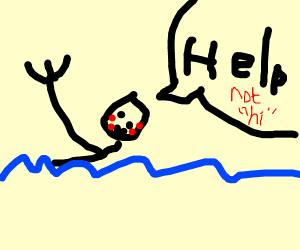 swimming teen saying hi