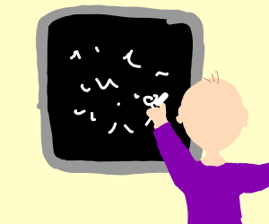 baby and chalk board