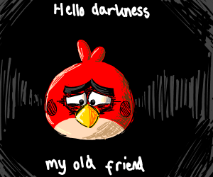 Red (angry bird) is sad