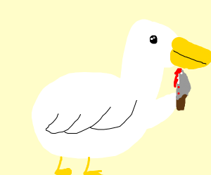 Duck with knife