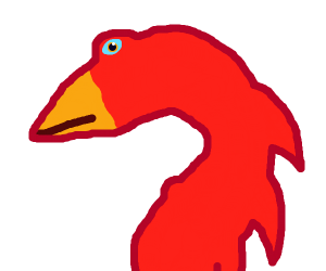 red dragon with a yellow beak