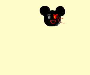 mickey mouse with one evil eye