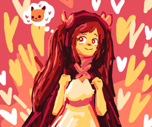girl wearing red cloak thinking about cats