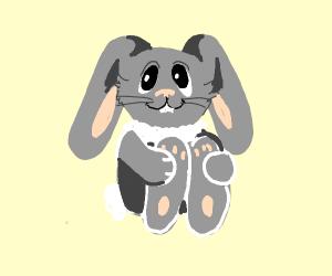 Bunny hugs leg