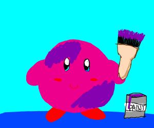 Kirby painted himself purple