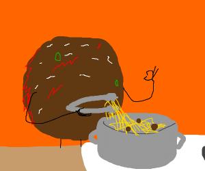 Meatball cooks spaghetti
