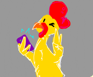 Anthro chicken takes selfie