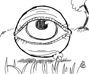 Giant floating eye in a field