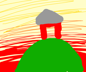 A farm on a hill at sunset