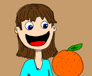 Noseless girl delighted by orange