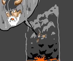 Viking plummets towards lava