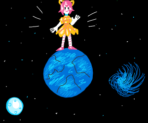 pink-haired girl on top of blue planet