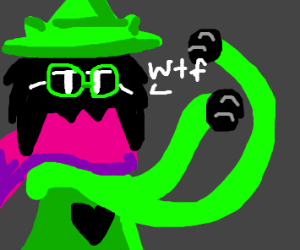 "Ralsei with looong arms asking ""wtf"""