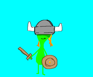 alien in a viking outfit