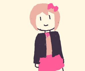 pink haired anime school girl