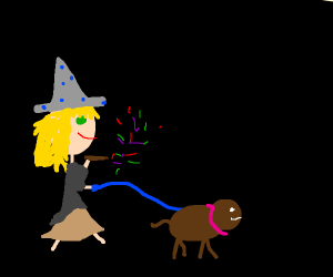 A witch walking her dog
