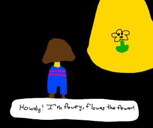 frisk with no arms is greeted by flowey