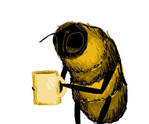 bee enjoying a cup of coffee